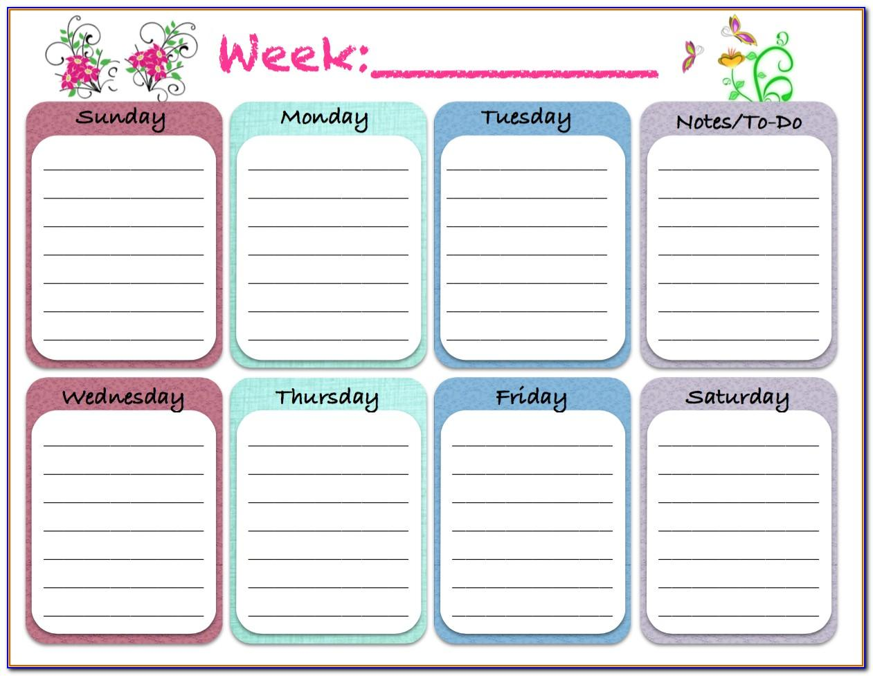 Week Planning Template Excel