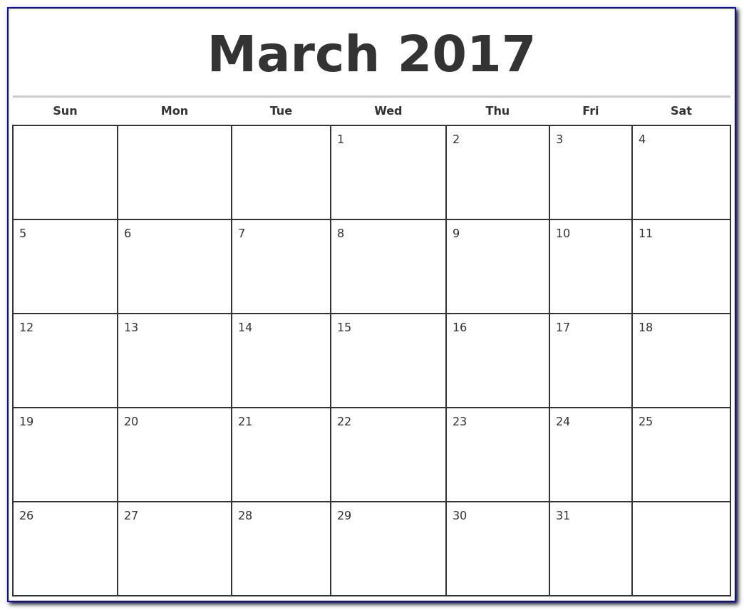 Weekly Calendar Excel Template 2017
