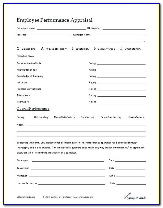 Work Appraisal Report Sample