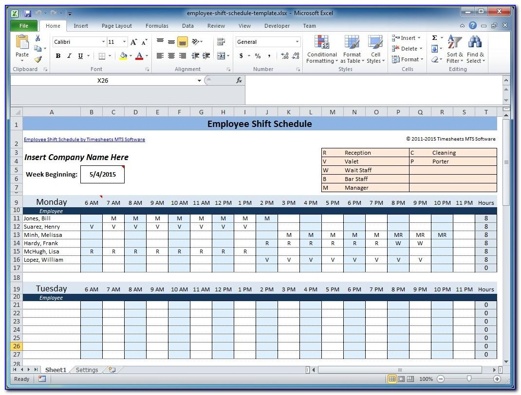 Work Schedule Calendar Excel Template