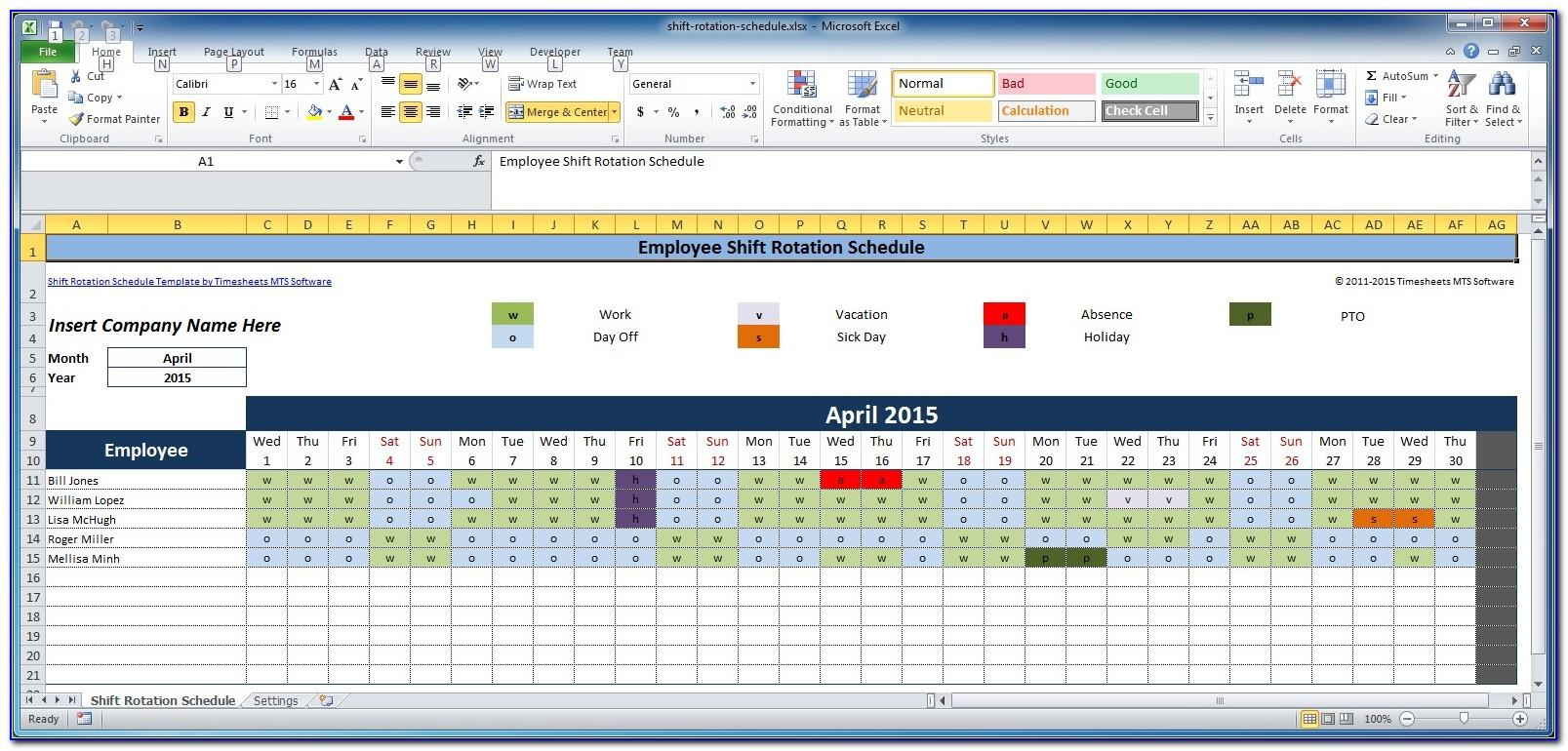 Work Schedule Examples Excel