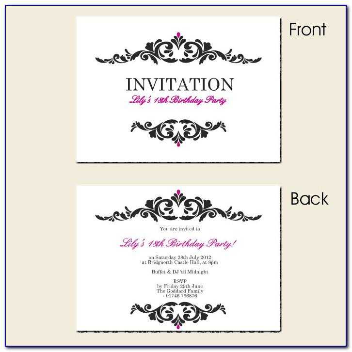 18th Birthday Party Invitation Templates Free