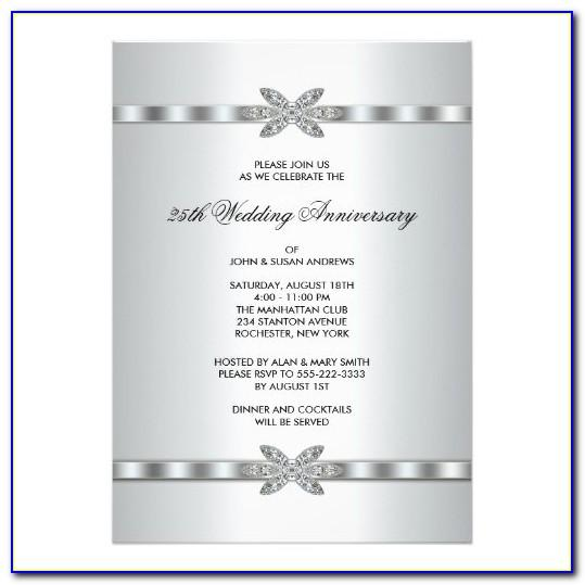 25th Anniversary Invitation Card Templates