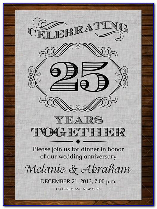 25th Anniversary Invitation Designs