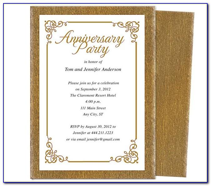 25th Wedding Anniversary Invitation Templates Microsoft Word