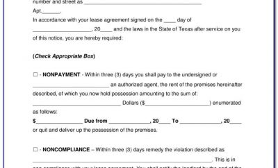 30 Day Eviction Notice Texas Sample