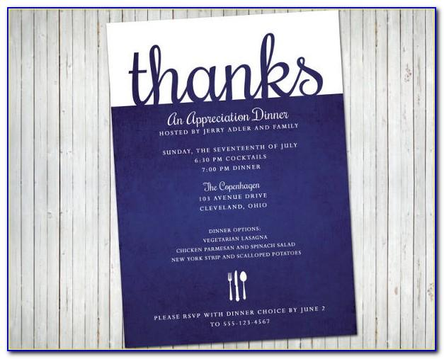 Appreciation Dinner Invitation Sample
