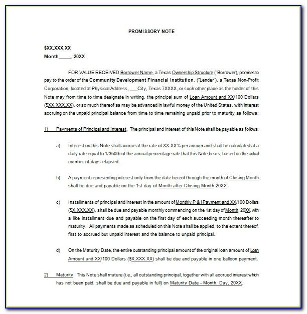 California Unsecured Promissory Note Form