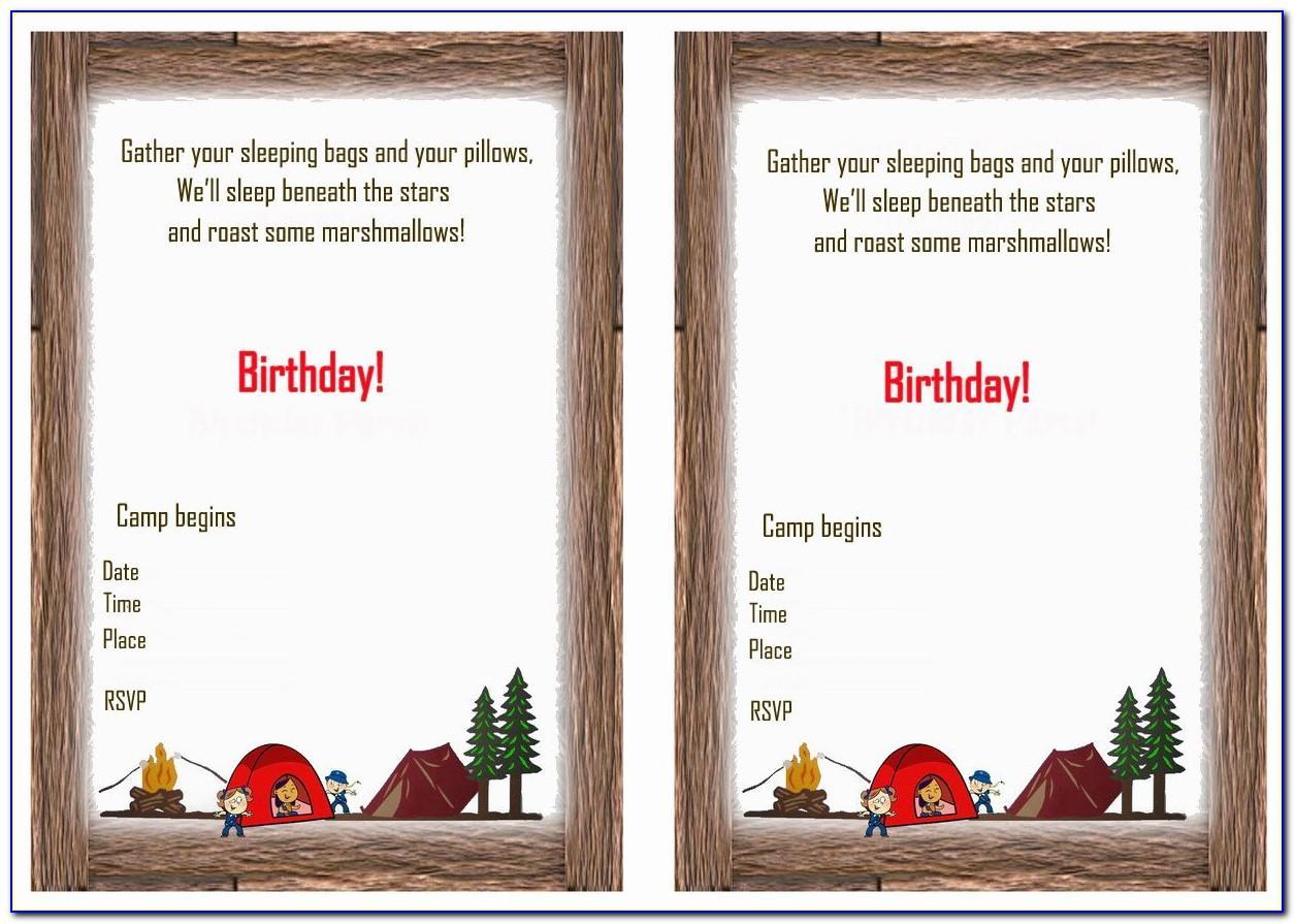 Camping Birthday Invitation Templates