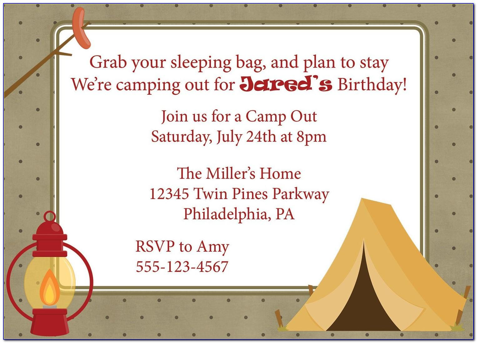 Camping Invitation Template Free