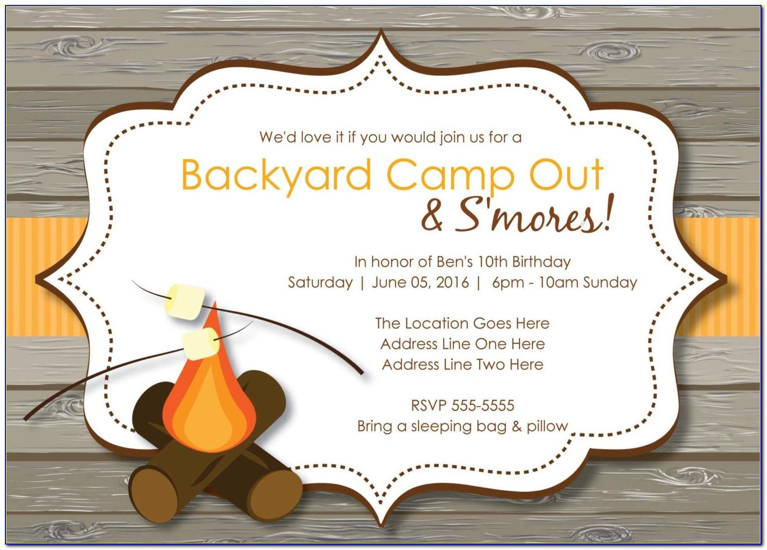Camping Party Invitation Templates Free
