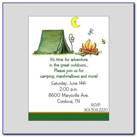Camping Themed Birthday Invitation Template