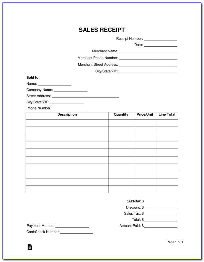 Car Sales Receipt Template Free
