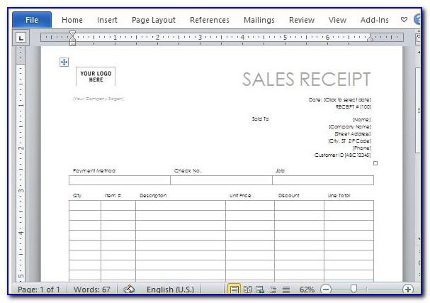 Car Sales Receipt Template Microsoft Word