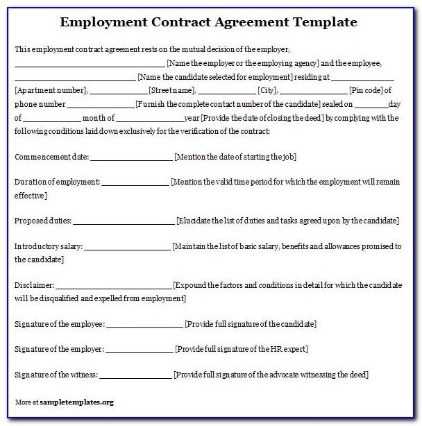 Casual Employment Contract Template Free