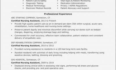 Certified Nursing Assistant Resume Examples