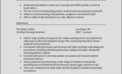 Certified Nursing Assistant Resume Sample With Experience