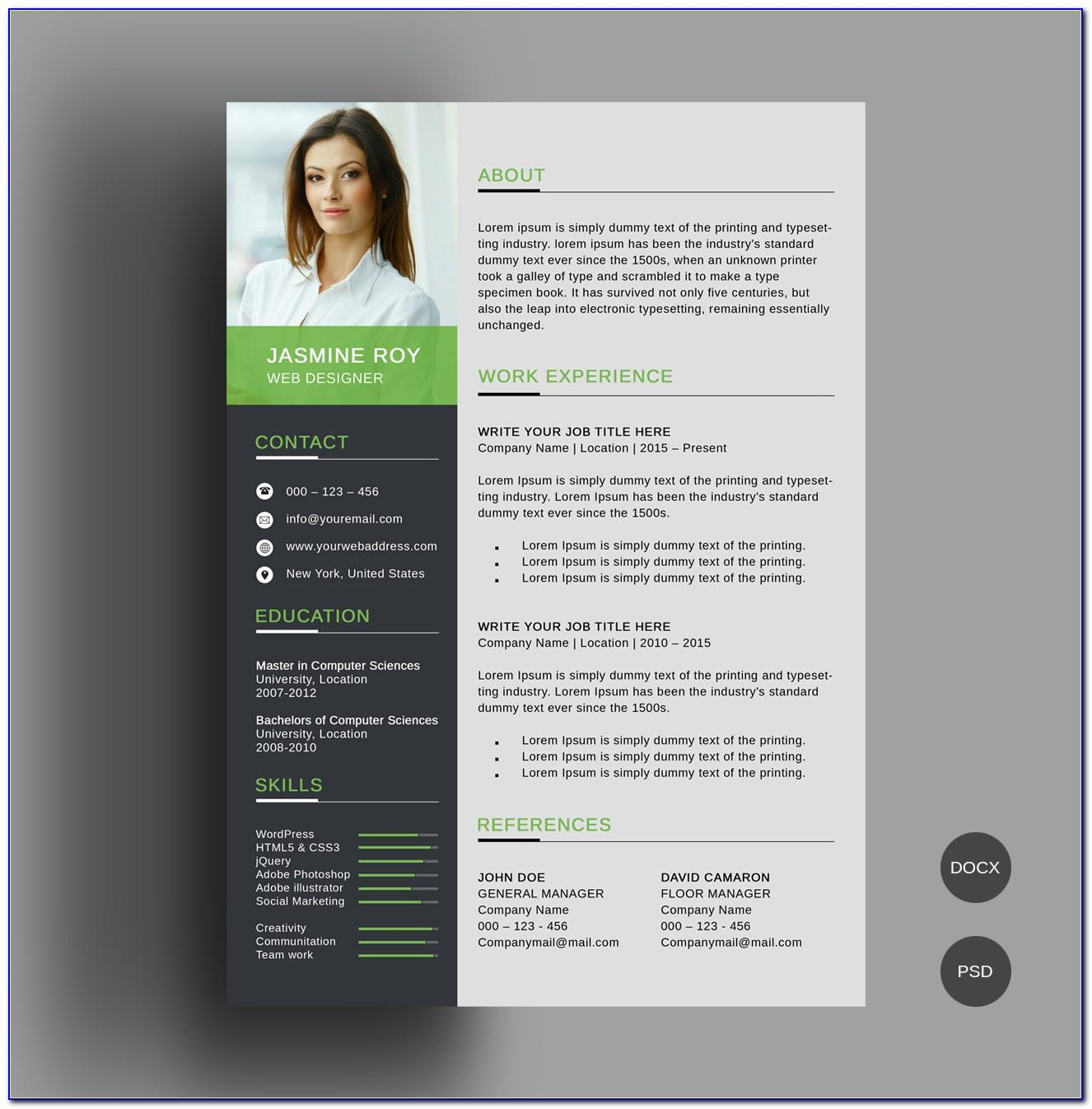 Creative Resume Templates Word Free Download