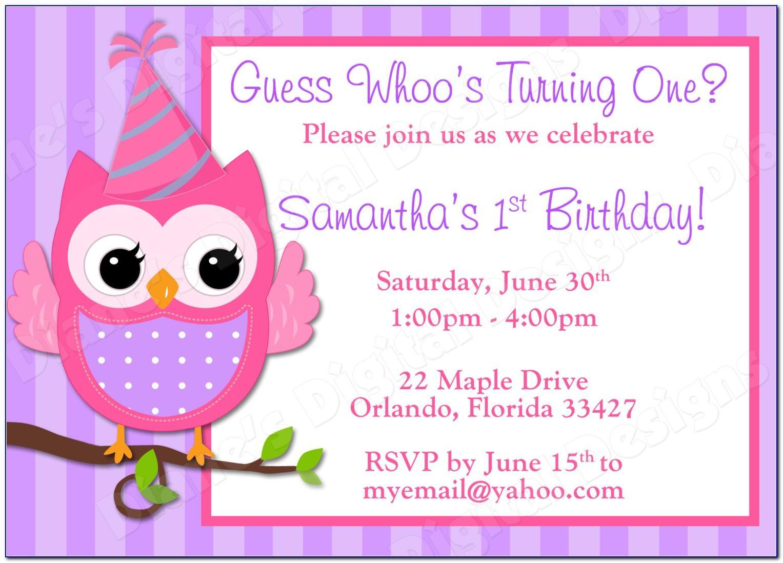 Diy Owl Invitation Template Free