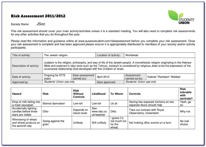 Dsear Risk Assessment Template Hse
