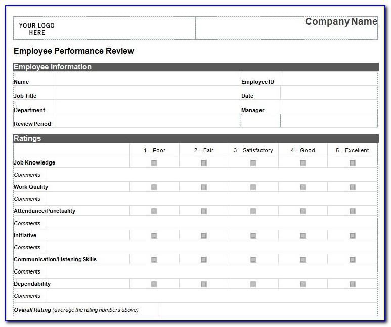 Employee Evaluation Template Excel Free