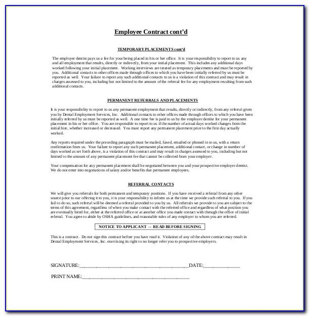 Employee Sample Contract Agreements