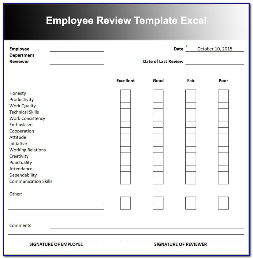 Employee Self Evaluation Template Excel