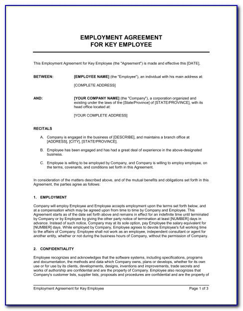 Employer Employee Contract Form