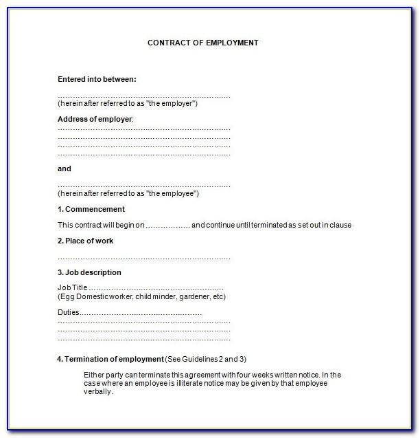 Employment Contract Template Free Uk Download