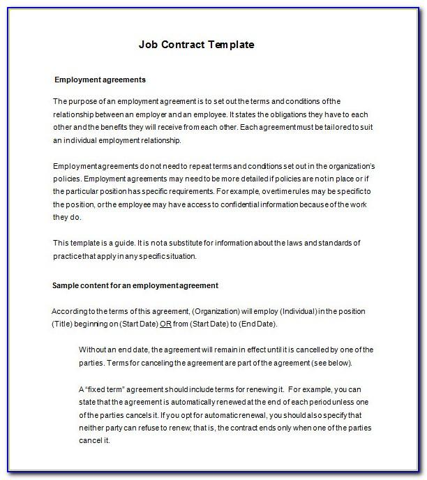 Employment Contract Template Free