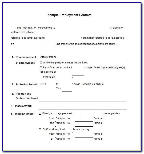 Employment Contract Template Nz Free