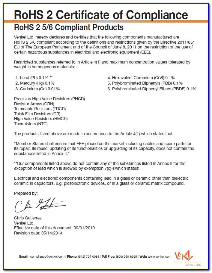 Eu Rohs Certificate Of Compliance Template