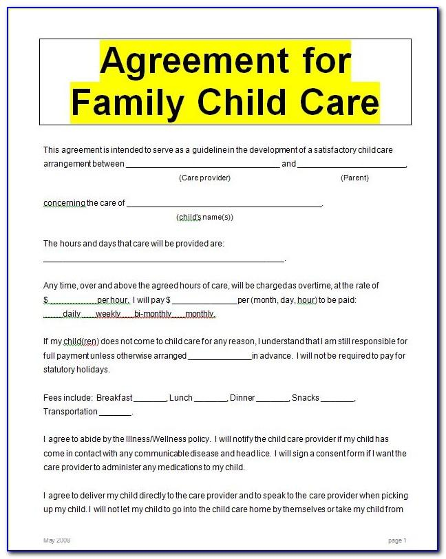Example Child Care Agreement