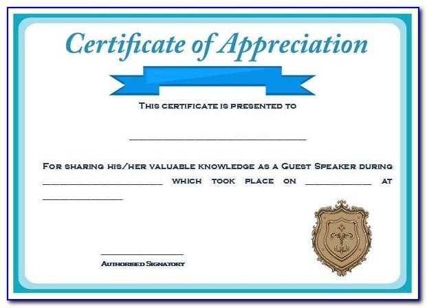 Example Of Certificate Of Appreciation For Guest Speaker Graduation