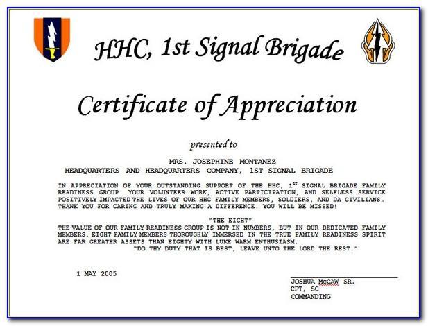 Example Of Certificate Of Appreciation Wording