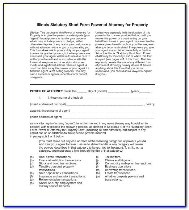 Example Of Power Of Attorney Document