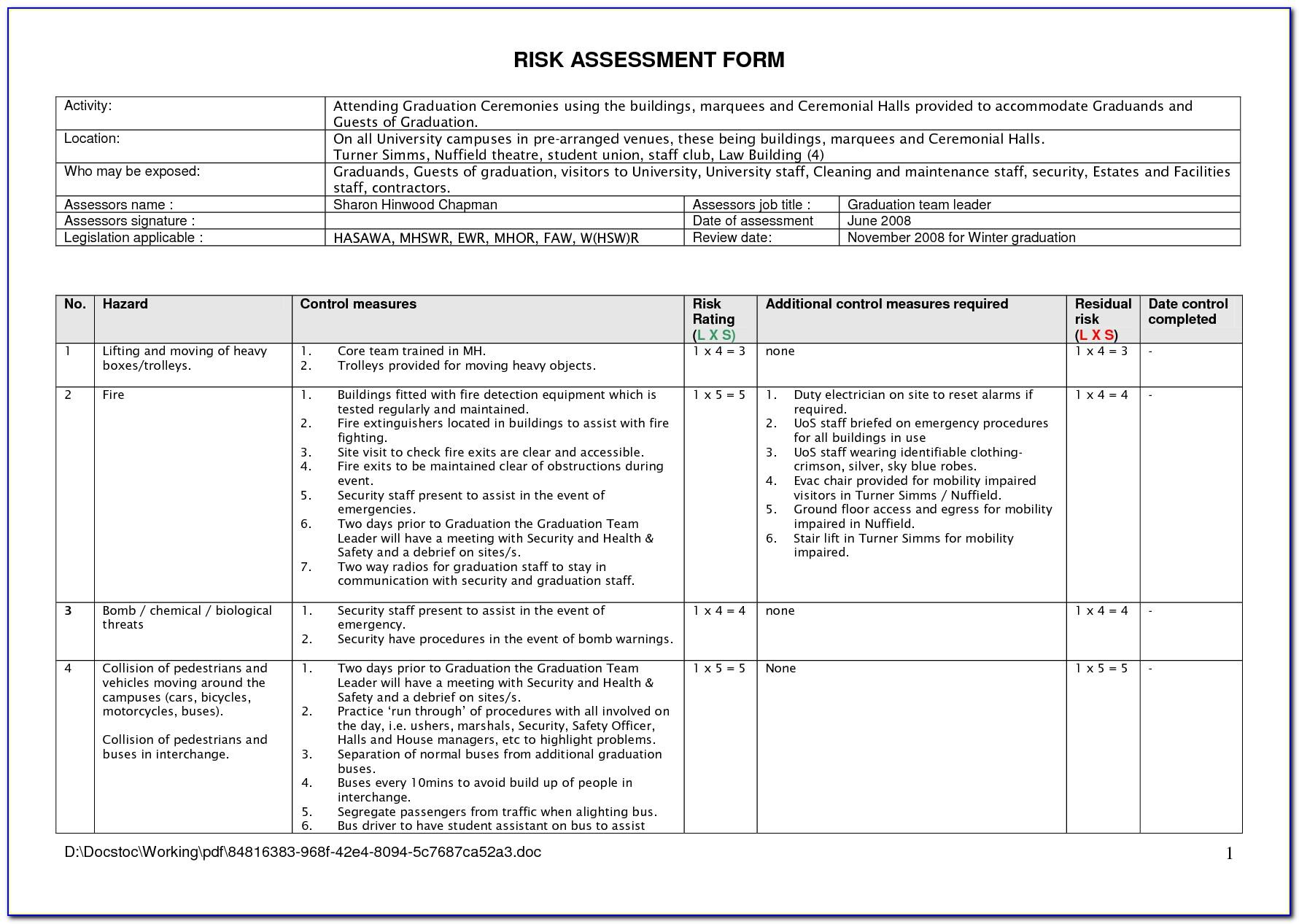 Example Risk Assessment Form For Construction