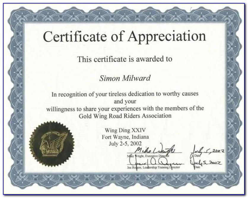 Examples Of Certificate Of Appreciation Wording
