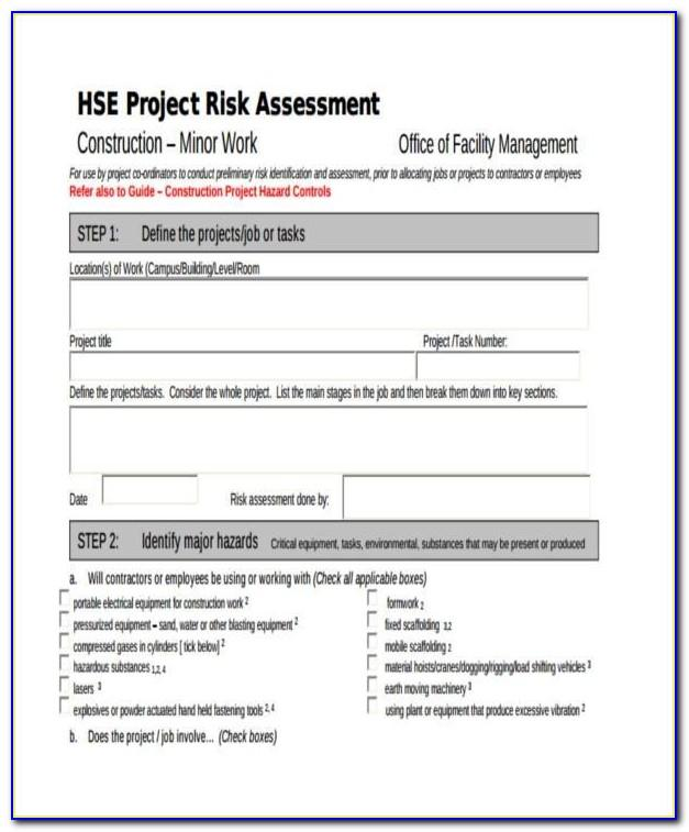 Fire Risk Assessment Template For Childminders