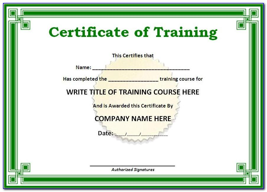 Fire Safety Training Certificate Format
