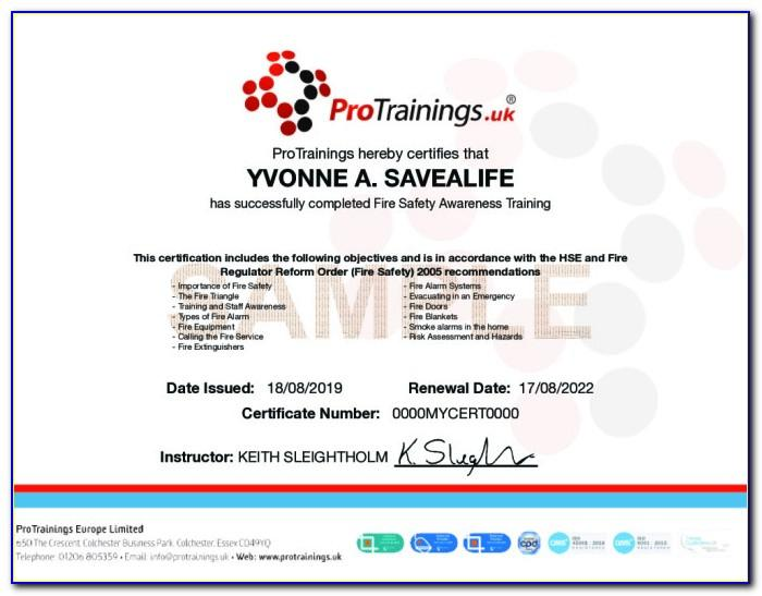 Fire Safety Training Certificate Sample