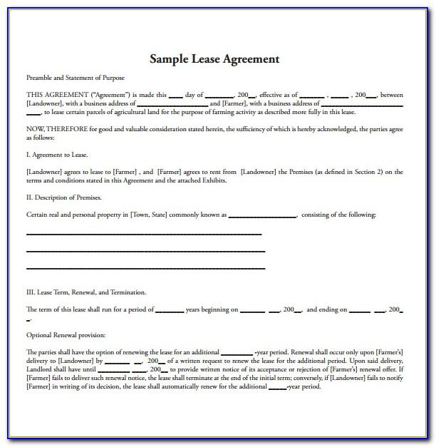 Format Of Lease Agreement For Land