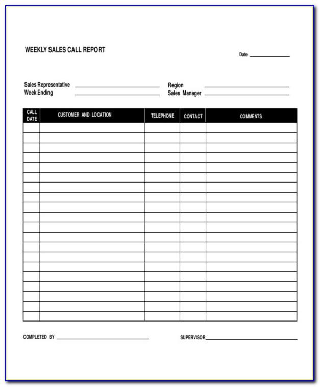 Free Daily Sales Call Report Template