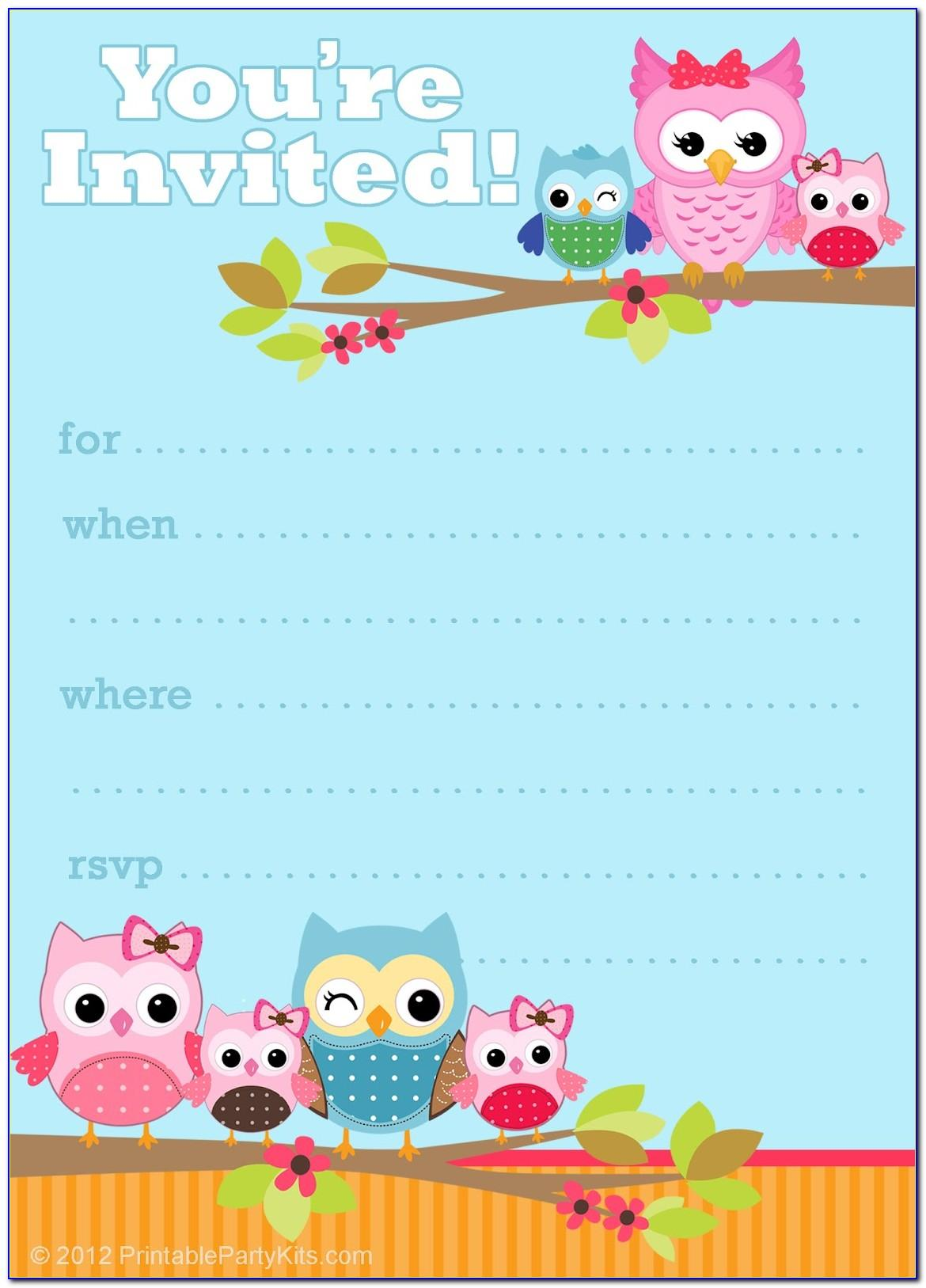 Free Owl Birthday Invitation Template