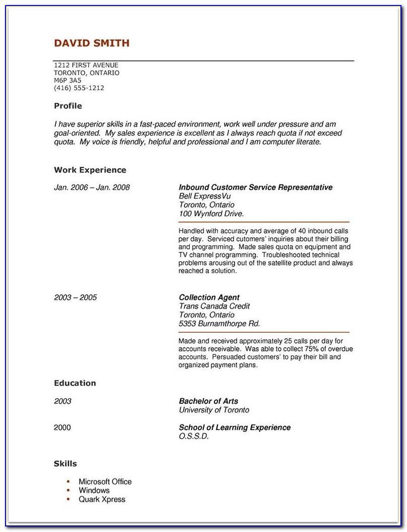 Free Resume Templates No Experience