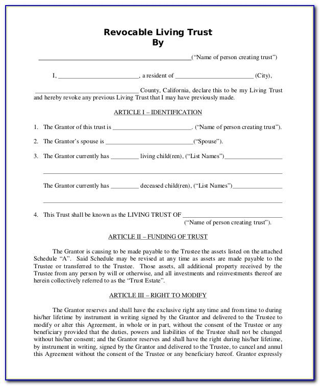 Free Revocable Living Trust Form Minnesota