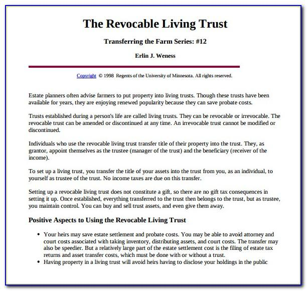 Free Revocable Living Trust Form Virginia