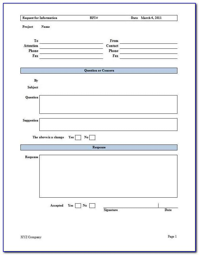 Free Rfi Form Template Word