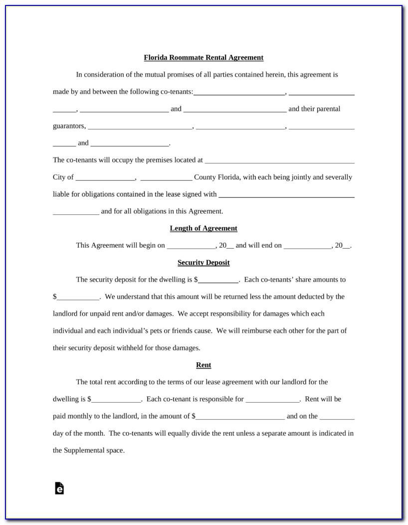 Free Room Rental Agreement Form Florida