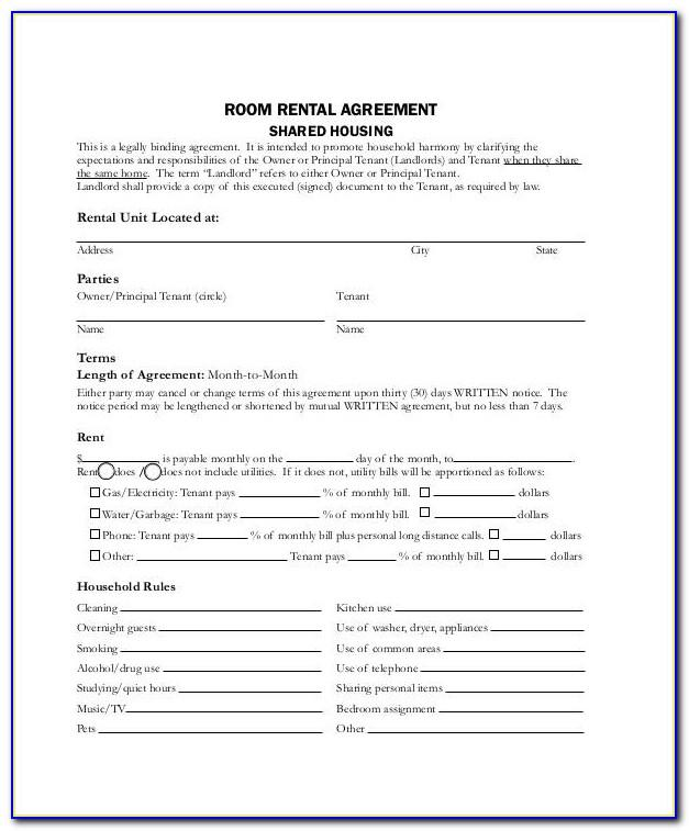 Free Room Rental Agreement Forms Texas